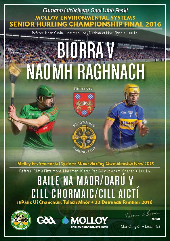 56 Page Colour Programme for This Years County Hurling Finals