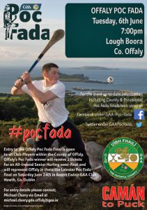 Offaly Poc Fada this Tuesday 6th June at 6.30pm in Lough Boora Park.