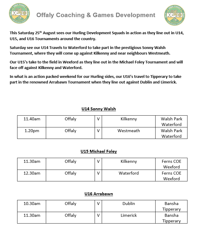 Massive weekend in store for Offaly Hurling Development Squads