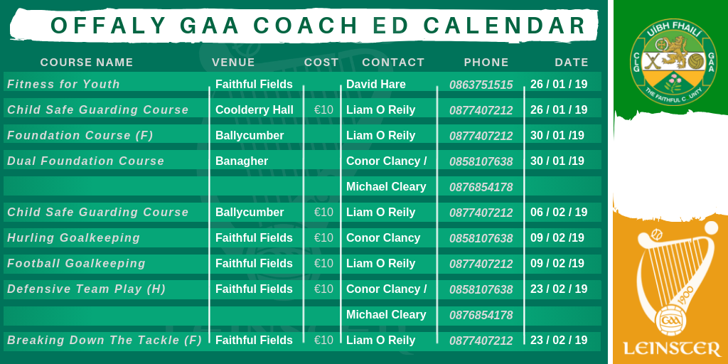 Coach Education Dates for Diary