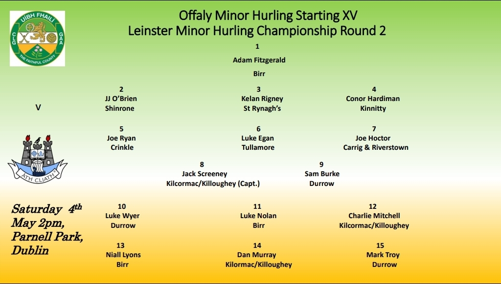 Offaly Minor Hurling Team to Play Dublin Announced