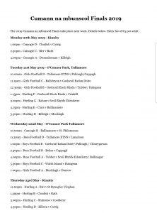 Cumman na mbunscol Finals Announced
