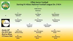 Offaly Teams Announced