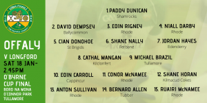 Offaly Team To Play Longford in O'Byrne Cup Final